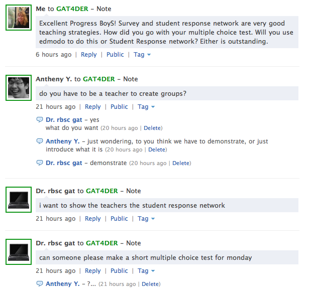 Sample of Online Collaboration Using Edmodo with Students